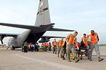 Unloading hospital patients at Lackland Air Force Base Sept 2008.jpg