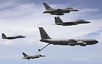 Boom and receptacle: USAF KC-135R Stratotanker...