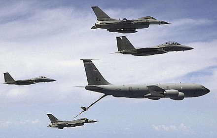 KC-135 refueling F-15s and F-16s