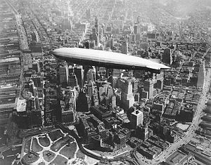 USS Los Angeles flying over southern Manhattan