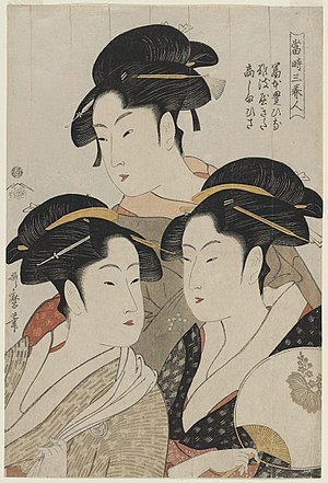 Three Beauties of the Present Day - Image: Utamaro (1793) Three Beauties of the Present Time, MFAB 21.6382