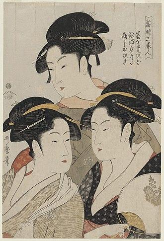 Bijin-ga - Image: Utamaro (1793) Three Beauties of the Present Time, MFAB 21.6382