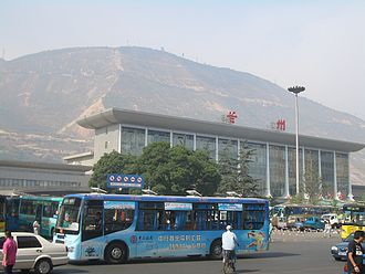 Chengguan District, Lanzhou - Lanzhou Railway Station, with the Gaolan Mountain in the background.