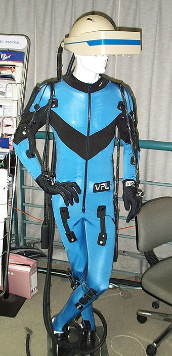 A VPL Research DataSuit, a full-body outfit with sensors for measuring the movement of arms, legs, and trunk. Developed circa 1989. Displayed at the Nissho Iwai showroom in Tokyo VPL DataSuit 1.jpg