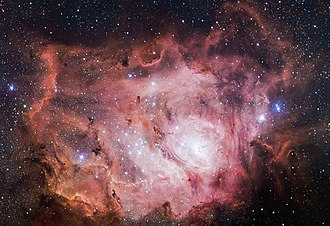 7 Sagittarii - 7 Sagittarii is the brightest star in the region of the Lagoon Nebula, towards the right edge.
