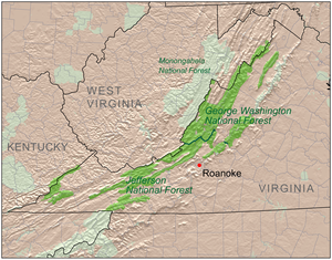 George Washington and Jefferson National Forests - Image: Va nationalforests