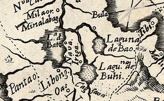 """Nabua, Camarines Sur - Early Map showing the town of """"Nava"""" and surrounding towns of present-day Rinconada area"""