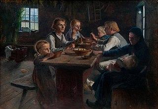 Supper at a Finnish farmhouse