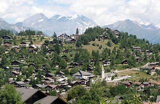 Vercorin village from the Valais, Switzerland