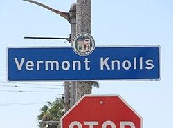 Vermont Knolls city signage located at Vermont Avenue and 77th Street