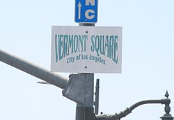 Vermont Square neighborhood signage at Vermont Avenue and Martin Luther King Boulevard