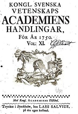 1739 in Sweden - Kongl. Svenska Vetenskaps-Academiens handlingar, volume XI (1750).