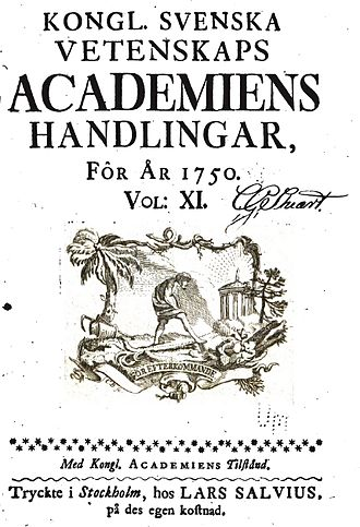 Royal Swedish Academy of Sciences - Kongl. Svenska Vetenskaps-Academiens handlingar, volume XI (1750).