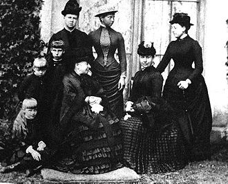 Princess Viktoria of Prussia - Queen Victoria with her children and grandchildren in 1884 at Balmoral. From left to right, Princess Marie of Edinburgh (seated), Princess Alexandra of Edinburgh, Princess Victoria Melita of Edinburgh, the Duchess of Edinburgh, Queen Victoria (seated), Princess Viktoria of Prussia, Victoria, Crown Princess of Prussia (seated) and The Princess Beatrice.