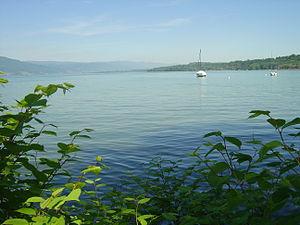Lüscherz - View from Lüscherz over Lake Biel