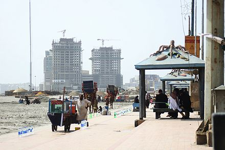 Clifton Beach in Karachi, with under-construction skyscrapers in the background. View of Karachi, Pakistan.jpg