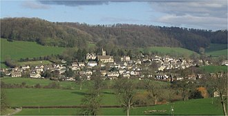 Uley - Uley, with Uley Bury rising behind it, as seen from Bencombe
