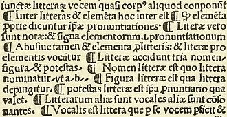 Pilcrow - Pilcrow signs in an excerpt from a page of Villanova, Rudimenta Grammaticæ, printed by Spindeler in 1500 in Valencia.