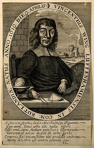 """Vincent Wing - Author portrait of Vincent Wing engraved by T. Cross (Frontispiece to the """"Astronomia Britannica"""" of 1669)"""