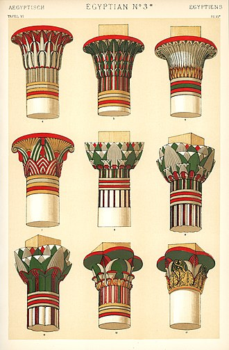 Capital (architecture) - Illustration of 9 types of capitals, from The Grammar of Ornament, drawn by Owen Jones in 1856