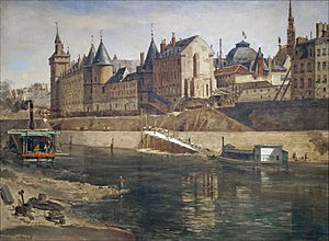 Conciergerie - The Palais de Justice, the Conciergerie and the Tour de l'Horloge, by Adrien Dauzats, after 1858.