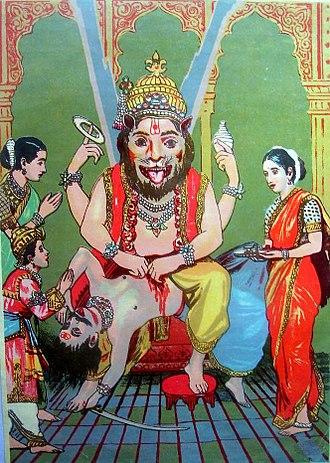 Hiranyakashipu - Vishnu's half-man half-lion avatar, Narasimha, protects Prahlada