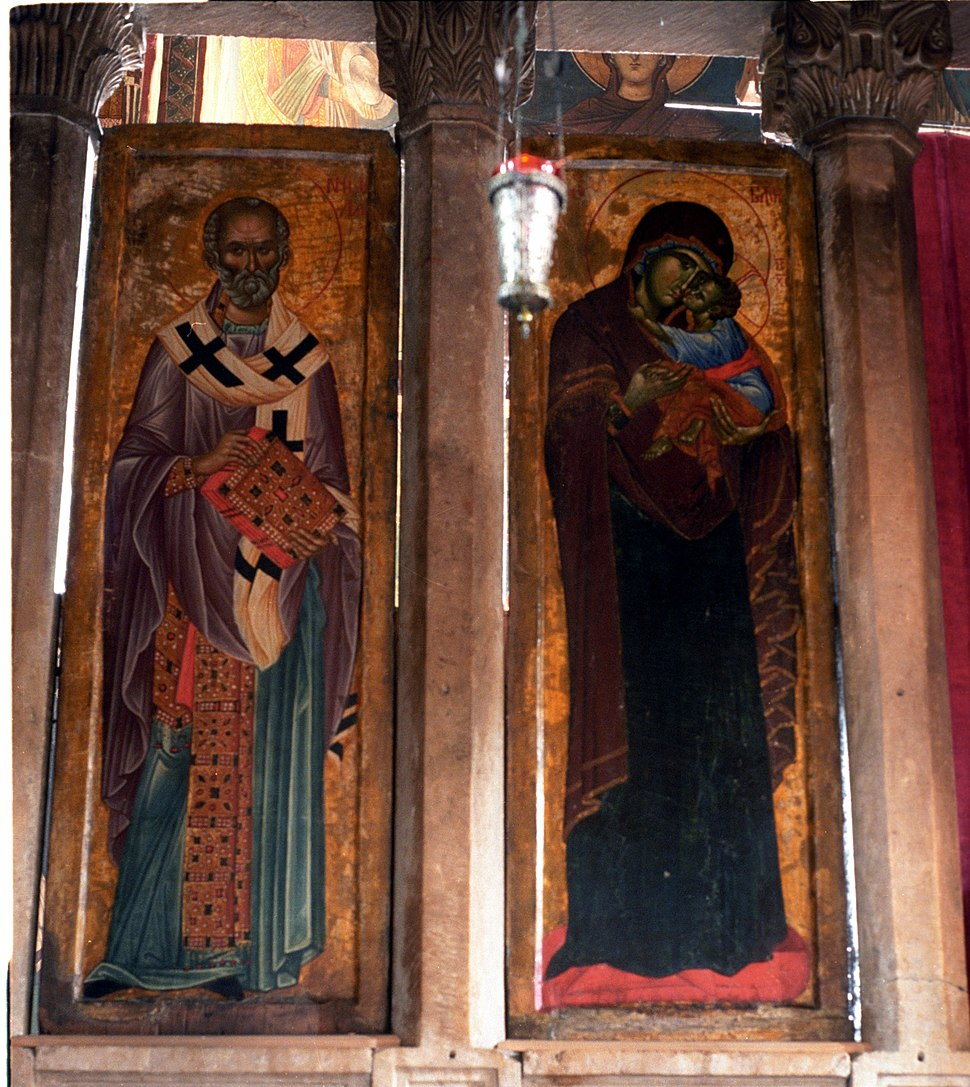 Visoki Dečani, icons of St. Nicholas and Madonna and Child