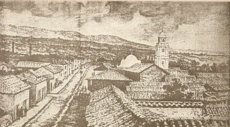 Jujuy Province - A view of Jujuy at the end of the 19th century. Clearly highlights the bell tower of Iglesia Matriz