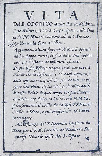 Odoric of Pordenone - The title page Life of Bl. Odoric of Pordenone. Ed. 1891.