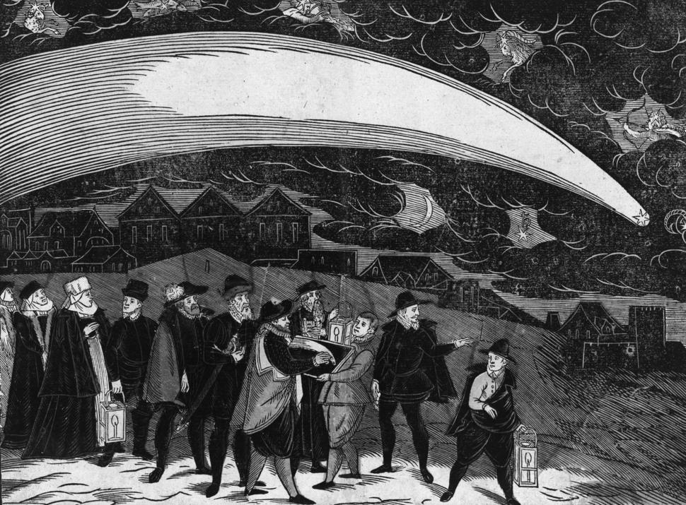 Von einem Schrecklichen vnd Wunderbarlichen Cometen so sich den Dienstag nach Martini dieses lauffenden M. D. Lxxvij. Jahrs am Himmel erzeiget hat (grayscale)