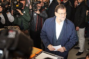 2015–16 Spanish government formation - Mariano Rajoy voting on 20 December 2015.