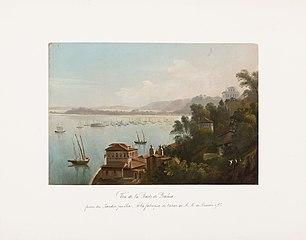 Vue de la Rade de Bahia prise du Jardin public. A la fabrique de tabac de M. M. de Meuron e Cie