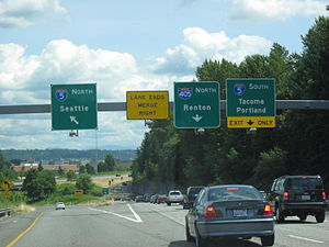 Washington State Route 518 - SR 518 eastbound approaching its interchange with I-5 and I-405 in Tukwila.