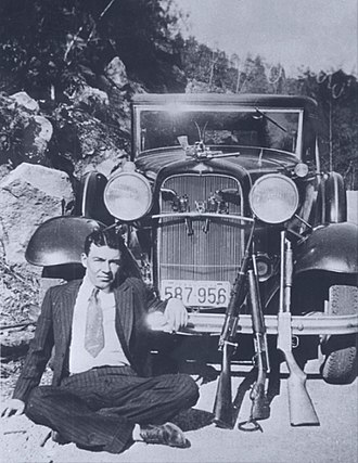 "Bonnie and Clyde - Just 16 years old, W. D. Jones committed two murders in his first two weeks as Clyde Barrow's protégé. The cut-down shotgun is one of Barrow's ""whippit"" guns. The pistol decorating the hood ornament is Officer Persell's."