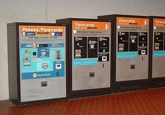 Washington Metro - Standard self-service vending machines for passes and farecards located at each station