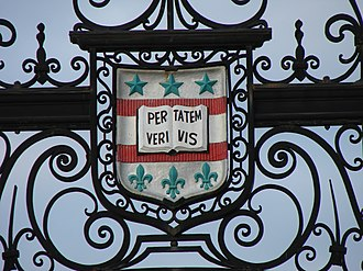 Washington University in St. Louis - The Washington University crest at the entrance to Francis Field
