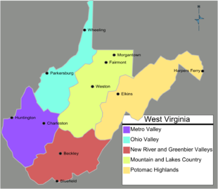State of West Virginia Regions