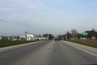 Walhain, Wisconsin - Looking east at the welcome sign for Walhain along WIS 54