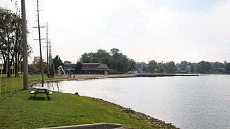 Warsaw, Indiana - Center Lake Park in October 2005, located on the shore of Center Lake.