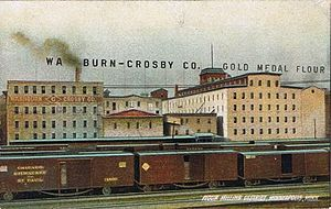General Mills - Postcard image of the Gold Medal Flour factory in Minneapolis around 1900