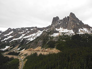 Washington Pass - State Route 20 and Liberty Bell Mountain at the pass, as seen from Washington Pass Overlook Trail