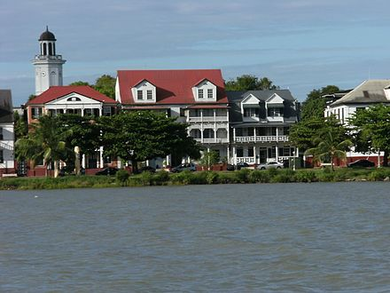 The Dutch colonial houses in the historic center of Paramaribo, Suriname. Waterkant seen from Suriname river III.JPG