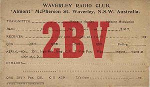 Waverley Amateur Radio Society - Waverley Amateur Radio Society QSL Card 1925