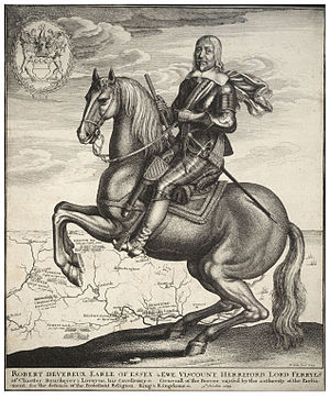 Robert Devereux, 3rd Earl of Essex - Robert Devereux depicted as Captain General on horseback, an engraving by Wenceslas Hollar