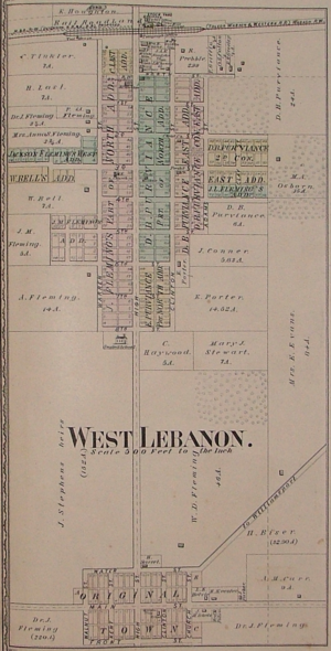 West Lebanon, Indiana - Map from 1877 atlas