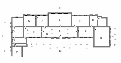Image result for West Wycombe Park, Room plan of the ground floor (Key: A Hall; B Saloon; C Red Drawing room; D Study; E Music room; F Blue Drawing Room; G Staircase; H Dining Room; J Tapestry Room; K King's Room (former principal bedroom); L West Portico; M South Front and colonnade; N East Portico; O North Front; P service wing.).
