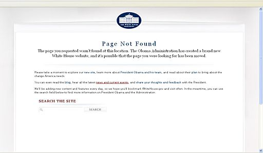 White House.gov 404 error 1-20-09