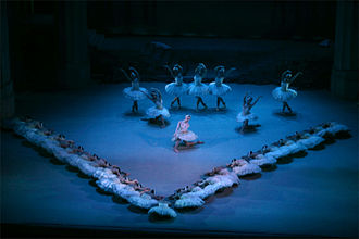 "Corps de ballet - In this scene from Swan Lake, the corps de ballet is forming a ""V"" at the front of the stage. They are directing attention to the principal dancer in the spotlight. The dancers behind her are also corps de ballet and form a backdrop"
