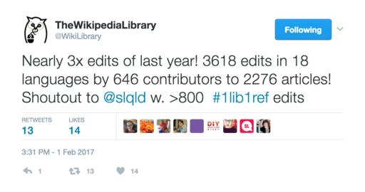 Wikipedia Library 1Lib1Ref tweet