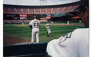 Will Clark - Clark prepares to bat during a 1992 game at Candlestick Park.